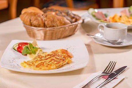 Eigericht zum Frühstück im Hotel Stoiser Graz