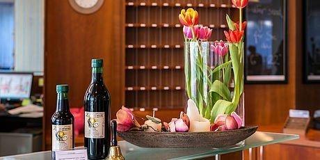 Steierische Produkte an der Rezeption im Hotel Stoiser Graz